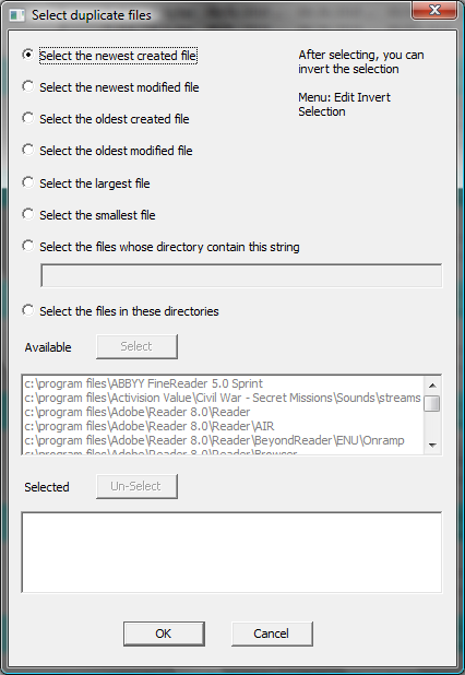 selecting files within a duplicate group